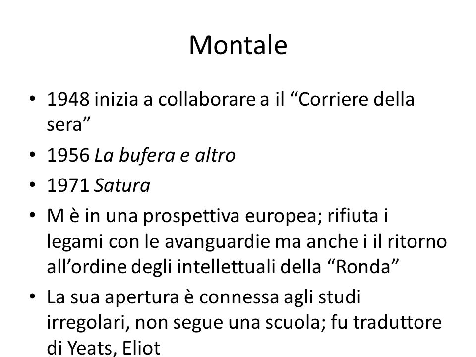 Montale 1948 inizia a collaborare a il Corriere della sera