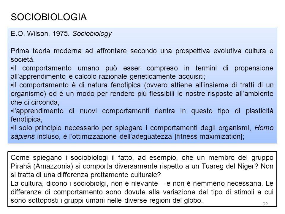 SOCIOBIOLOGIA E.O. Wilson. 1975. Sociobiology