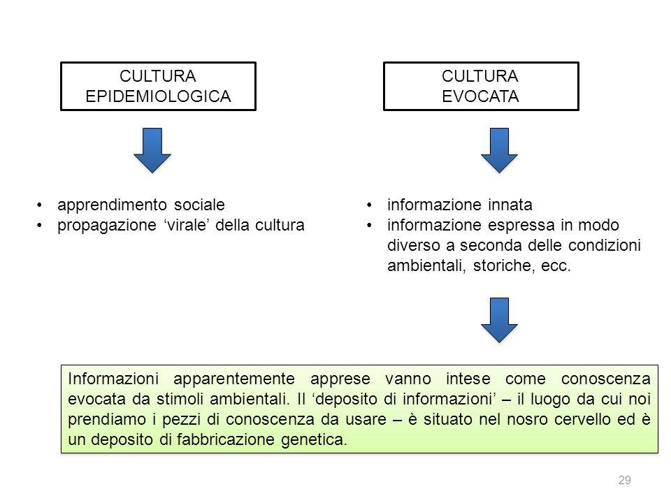 CULTURA EPIDEMIOLOGICA. CULTURA. EVOCATA. apprendimento sociale. propagazione 'virale' della cultura.
