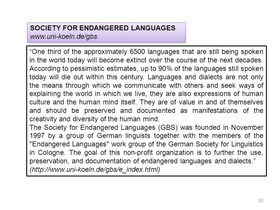 SOCIETY FOR ENDANGERED LANGUAGES