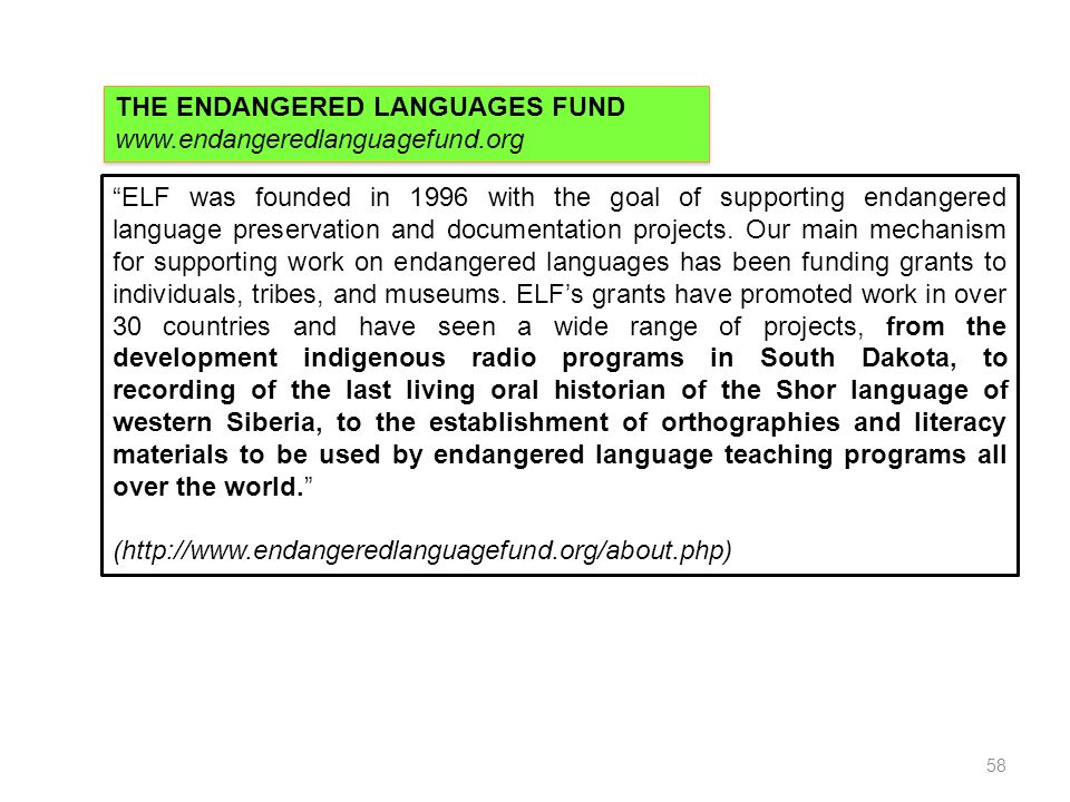 THE ENDANGERED LANGUAGES FUND