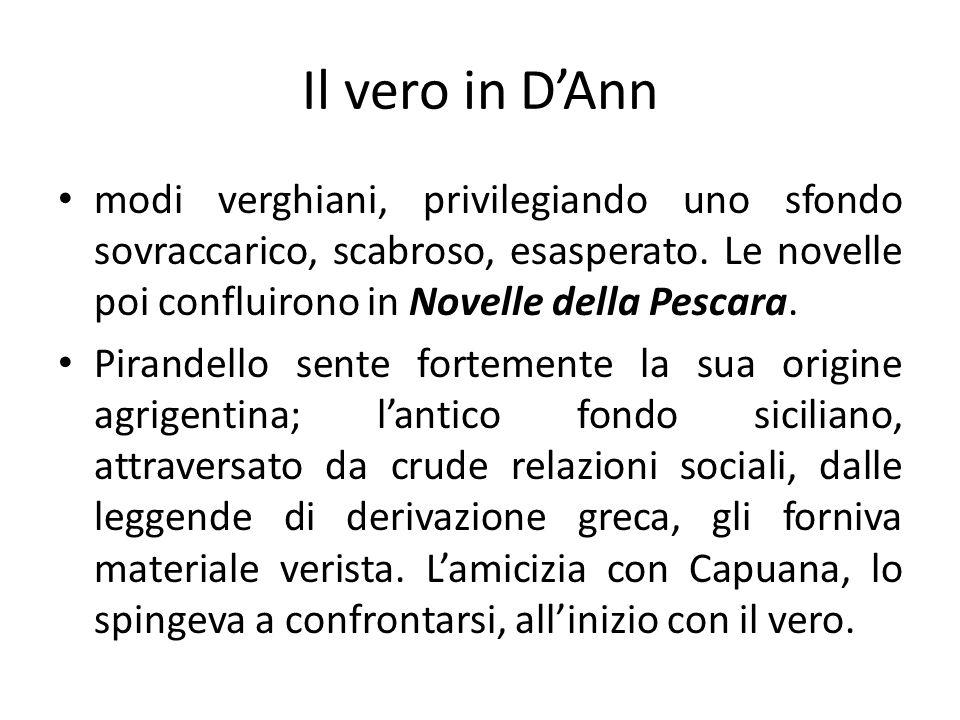 Il vero in D'Ann modi verghiani, privilegiando uno sfondo sovraccarico, scabroso, esasperato. Le novelle poi confluirono in Novelle della Pescara.
