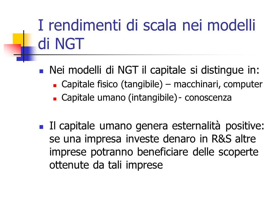 I rendimenti di scala nei modelli di NGT