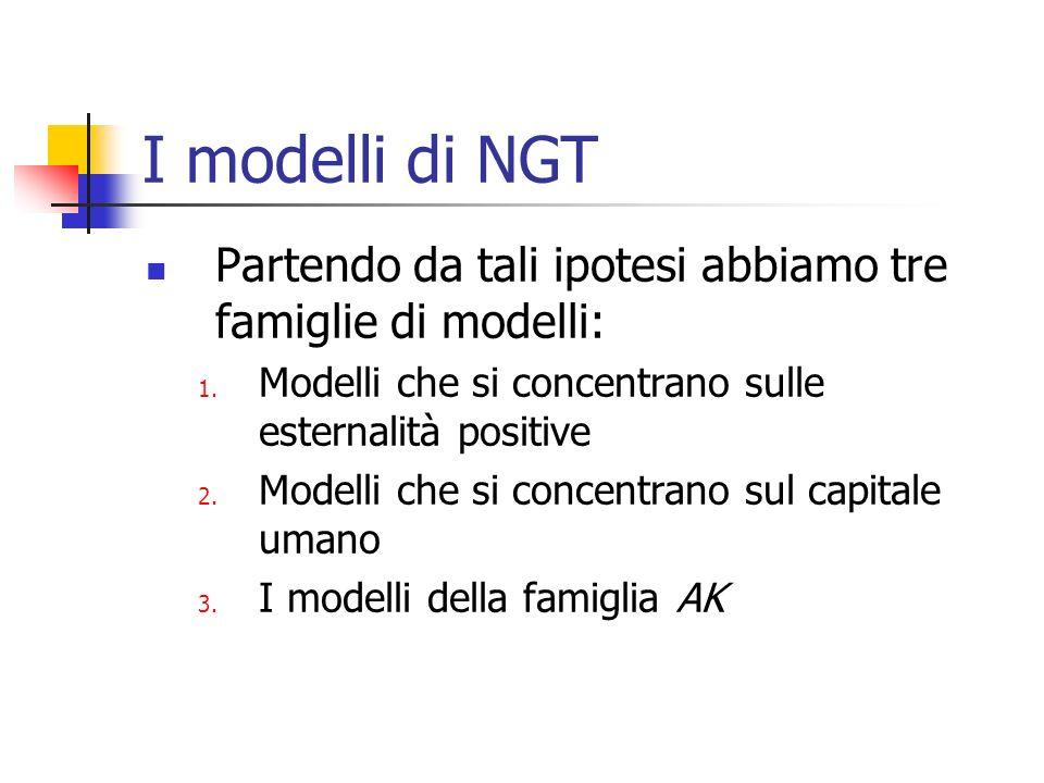 I modelli di NGT Partendo da tali ipotesi abbiamo tre famiglie di modelli: Modelli che si concentrano sulle esternalità positive.