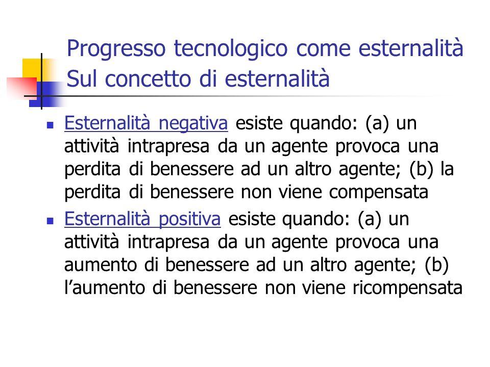 Progresso tecnologico come esternalità Sul concetto di esternalità