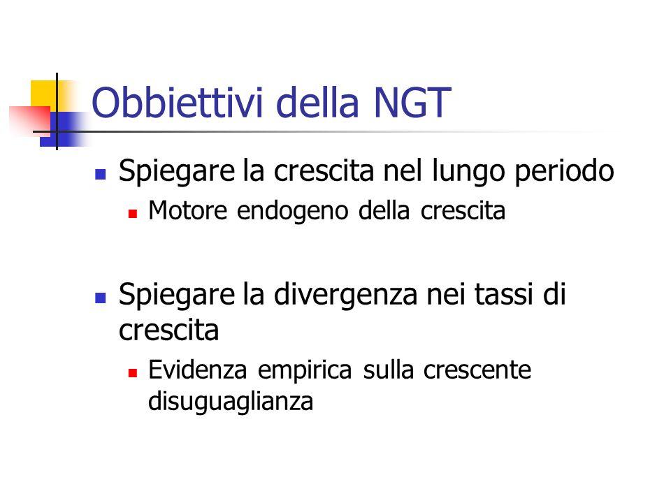Obbiettivi della NGT Spiegare la crescita nel lungo periodo
