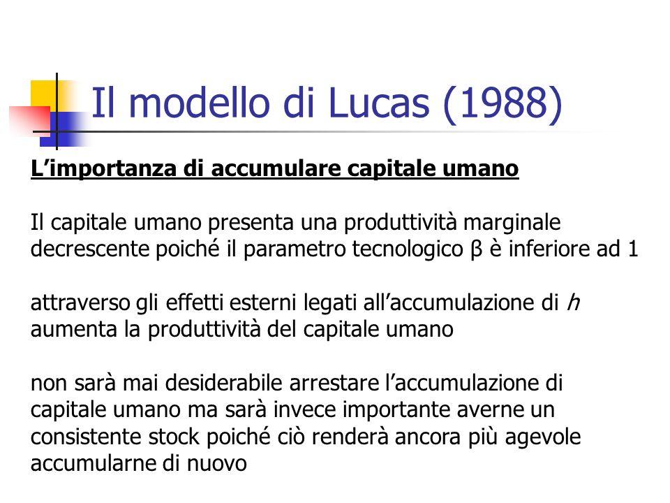 Il modello di Lucas (1988) L'importanza di accumulare capitale umano