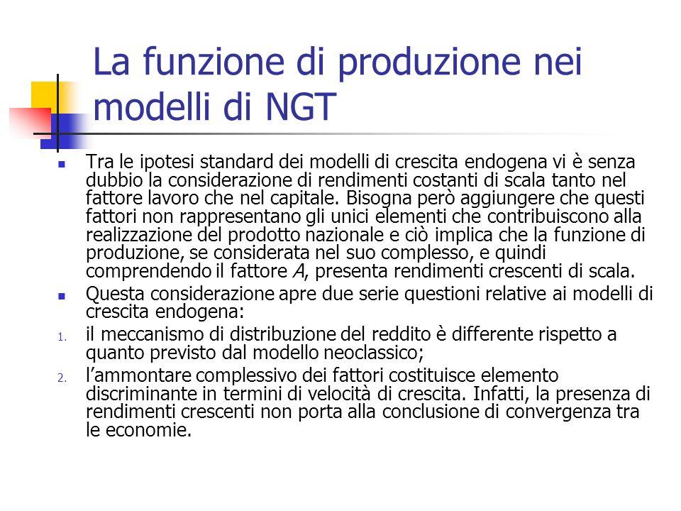 La funzione di produzione nei modelli di NGT