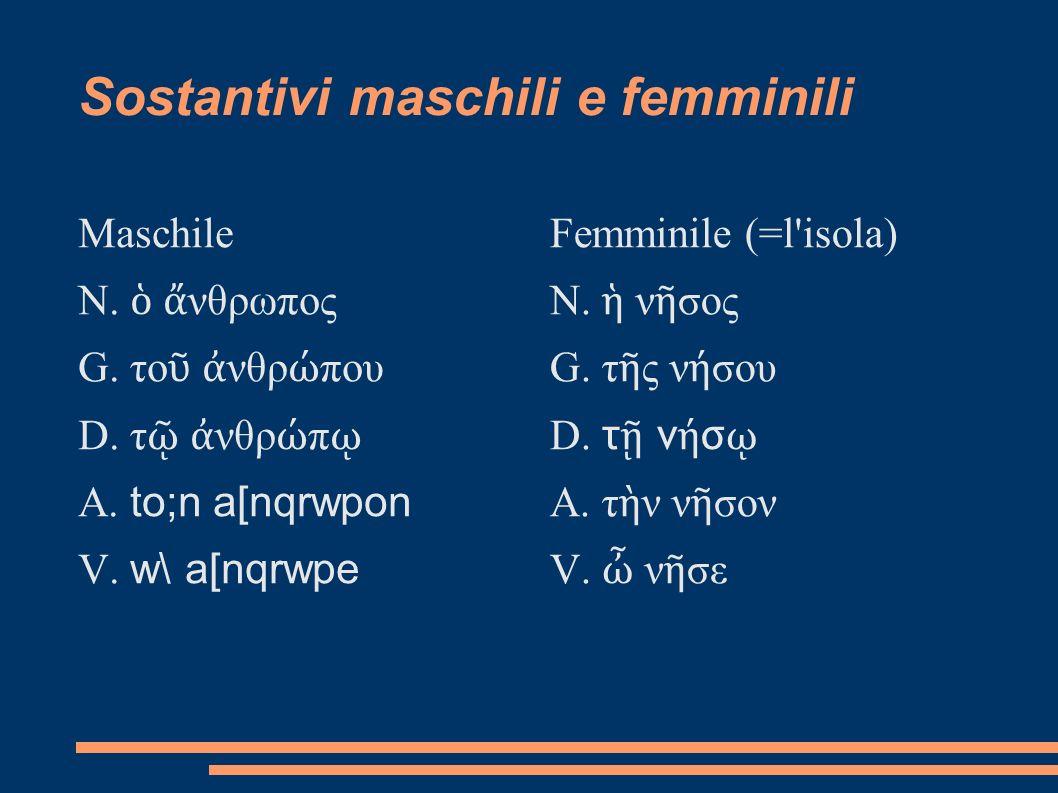 Sostantivi maschili e femminili