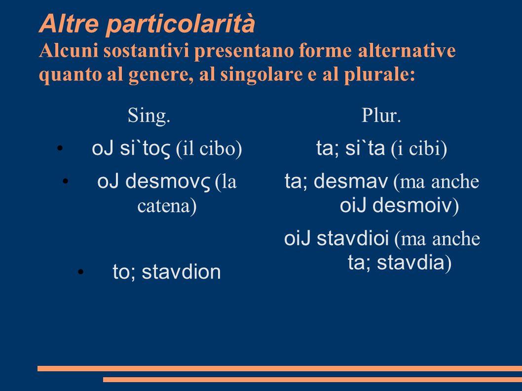 Altre particolarità Alcuni sostantivi presentano forme alternative quanto al genere, al singolare e al plurale: