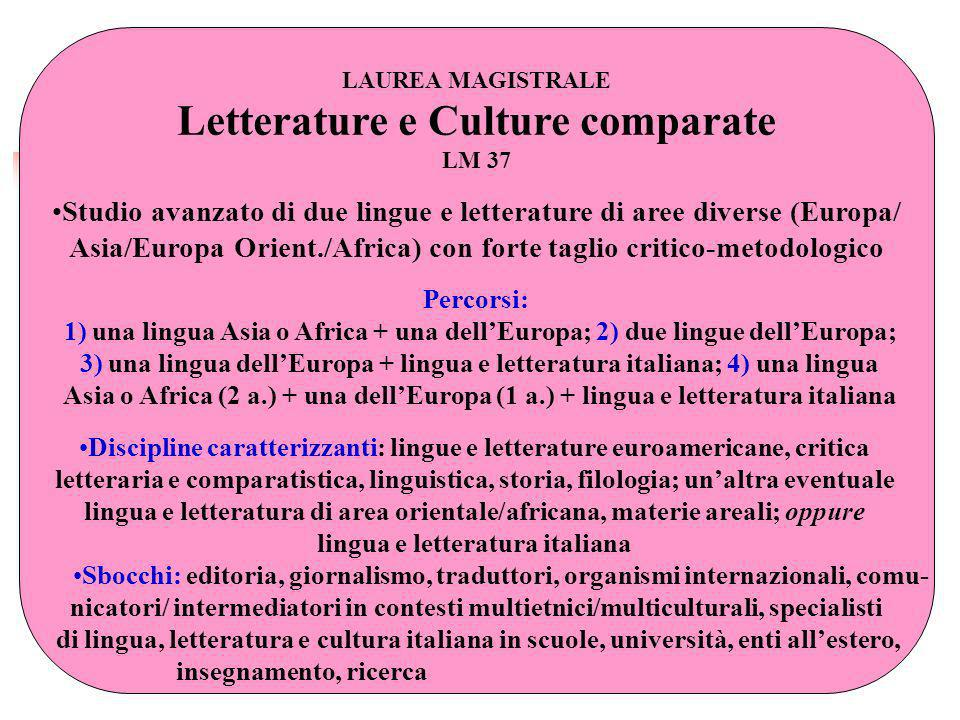 Letterature e Culture comparate
