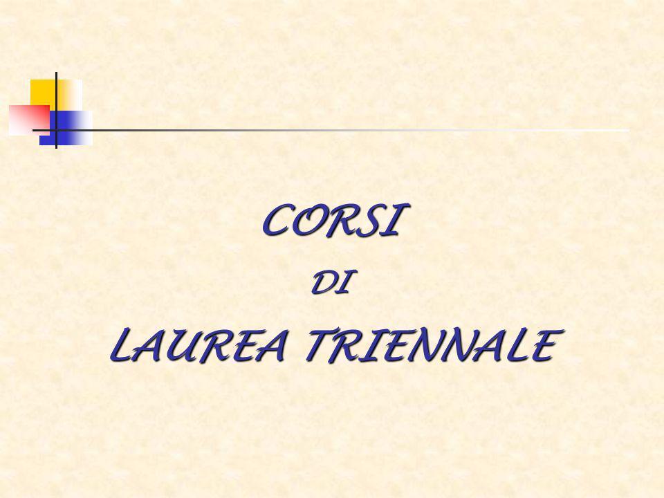 CORSI DI LAUREA TRIENNALE