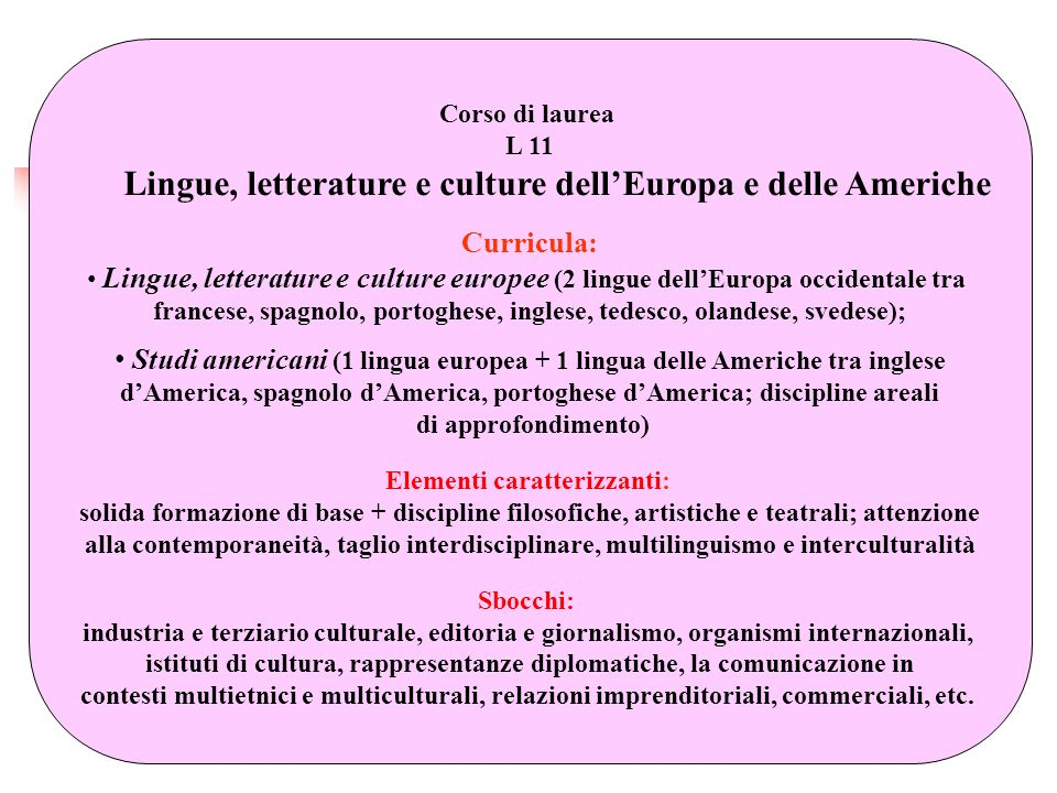 Lingue, letterature e culture dell'Europa e delle Americhe