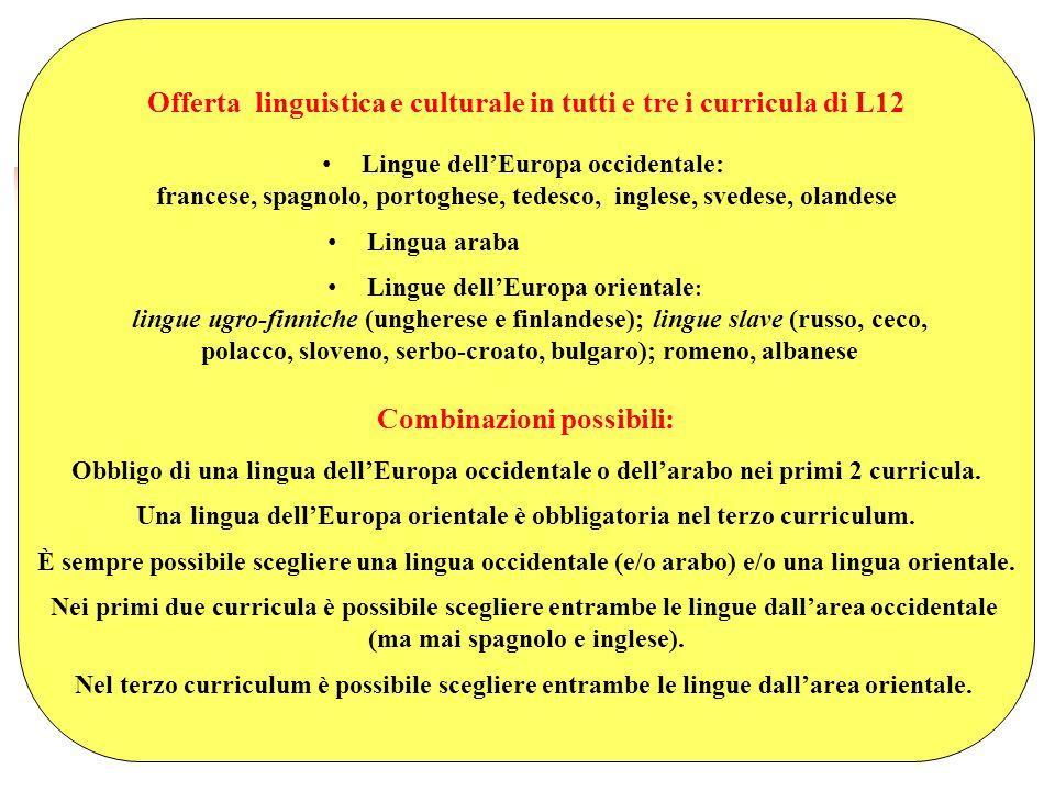 Offerta linguistica e culturale in tutti e tre i curricula di L12