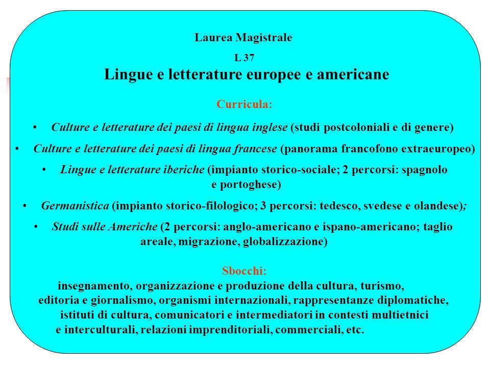 Lingue e letterature europee e americane