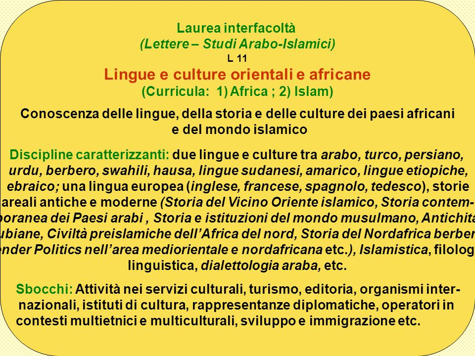 Lingue e culture orientali e africane