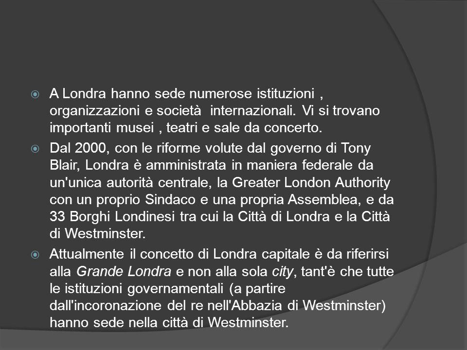 A Londra hanno sede numerose istituzioni , organizzazioni e società internazionali. Vi si trovano importanti musei , teatri e sale da concerto.