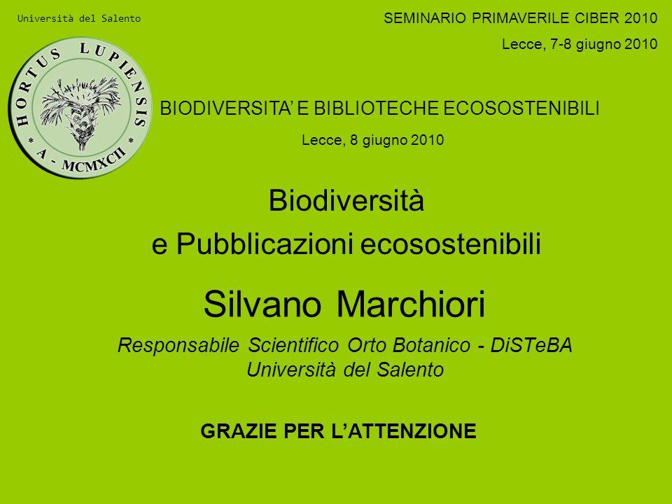 Biodiversità e Pubblicazioni ecosostenibili