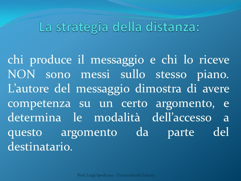 La strategia della distanza:
