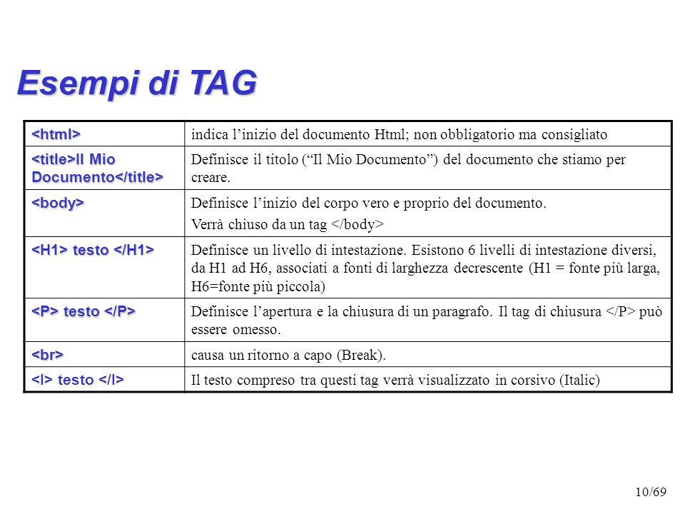 Esempi di TAG <html>