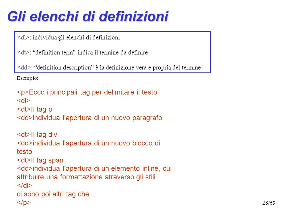 Gli elenchi di definizioni
