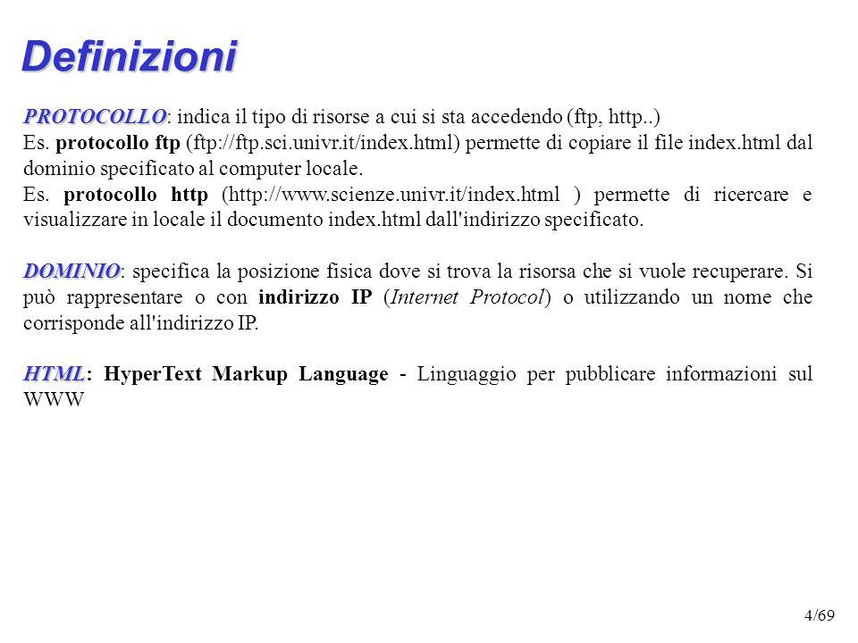 Definizioni PROTOCOLLO: indica il tipo di risorse a cui si sta accedendo (ftp, http..)