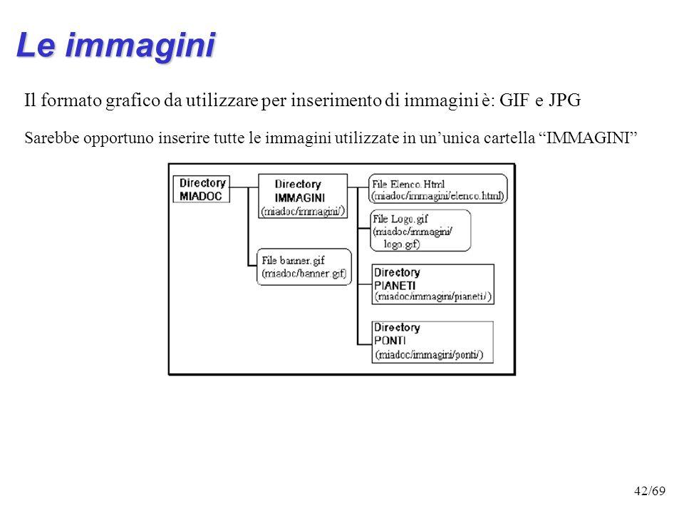Le immagini Il formato grafico da utilizzare per inserimento di immagini è: GIF e JPG.