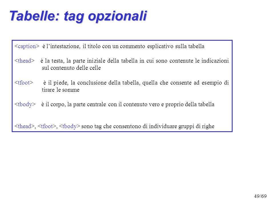 Tabelle: tag opzionali