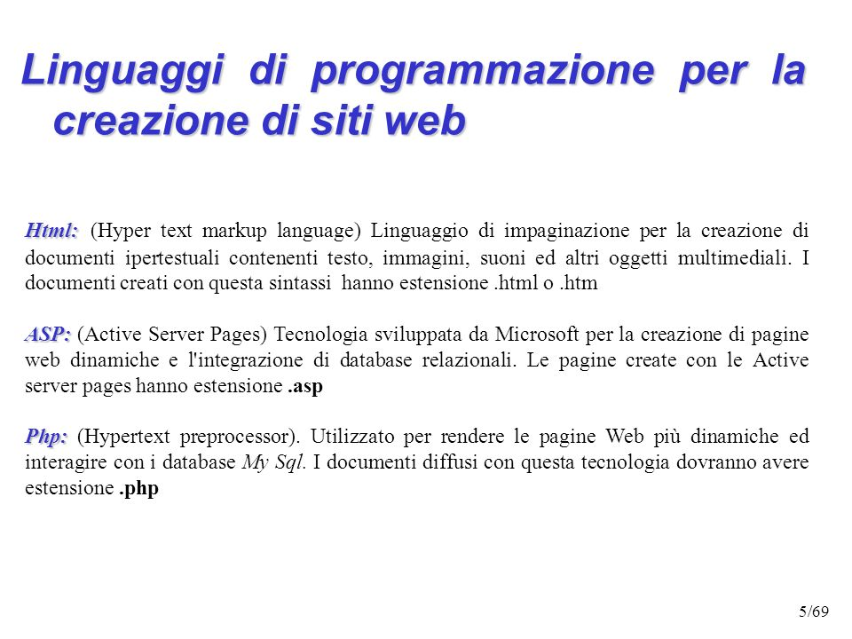 Linguaggi di programmazione per la creazione di siti web