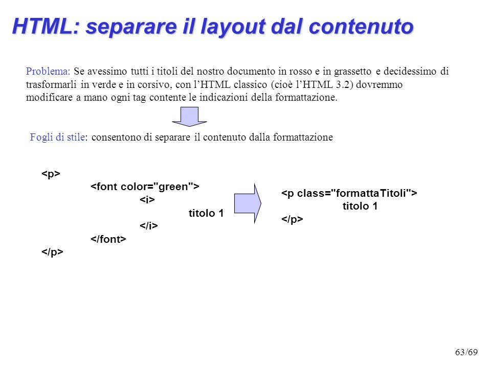 HTML: separare il layout dal contenuto