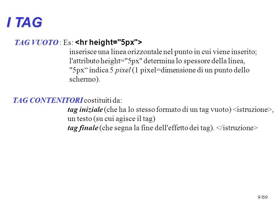 I TAG TAG VUOTO : Es: <hr height= 5px >