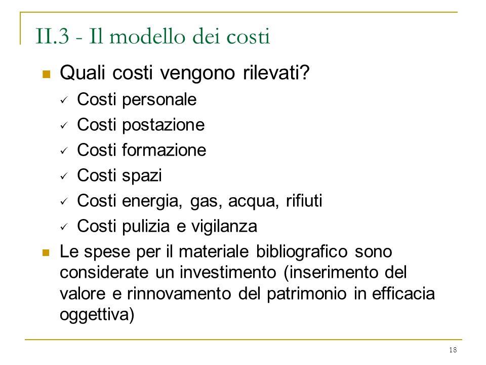 II.3 - Il modello dei costi