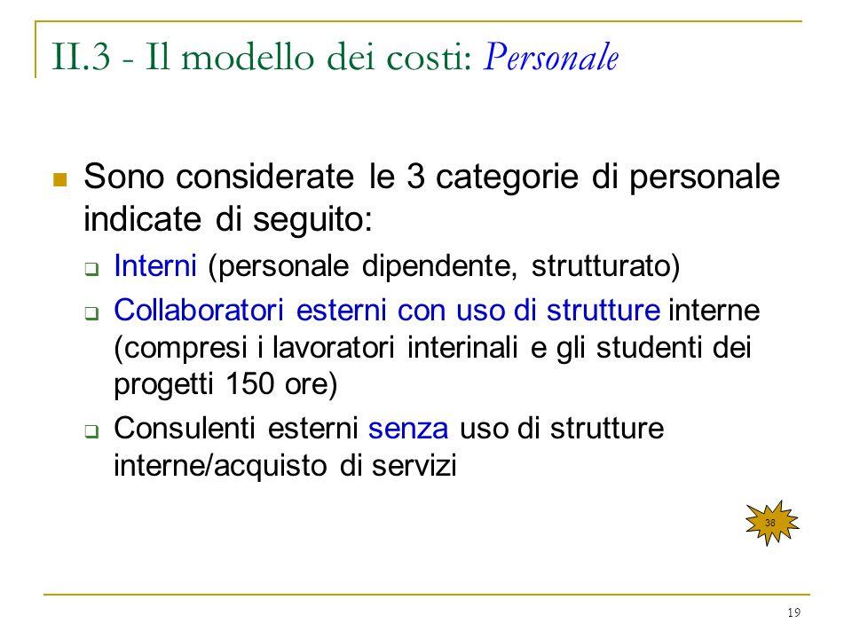 II.3 - Il modello dei costi: Personale