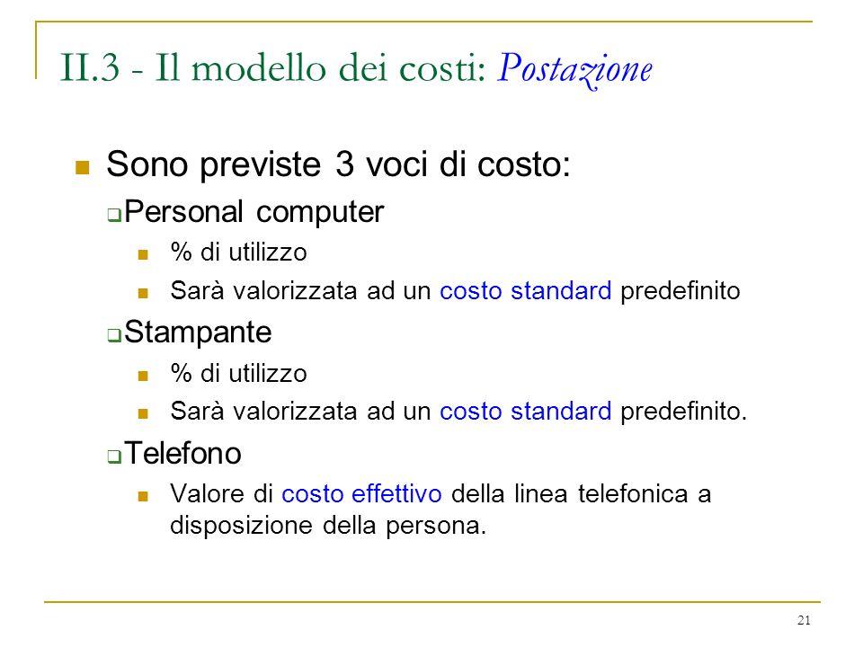 II.3 - Il modello dei costi: Postazione