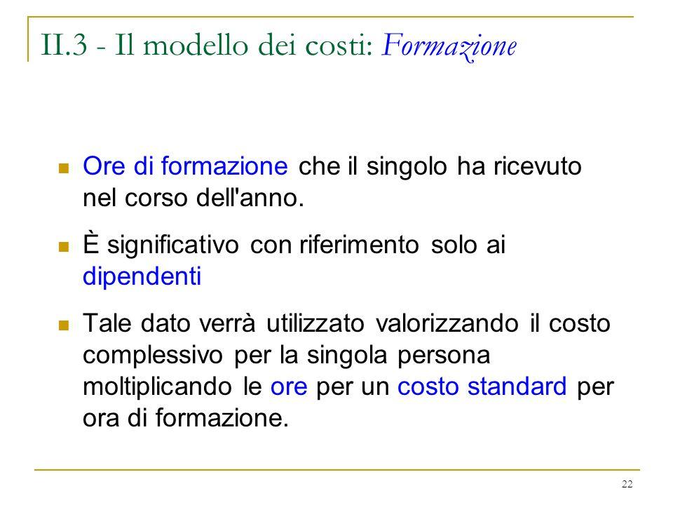 II.3 - Il modello dei costi: Formazione