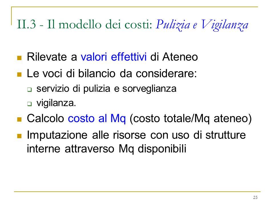 II.3 - Il modello dei costi: Pulizia e Vigilanza