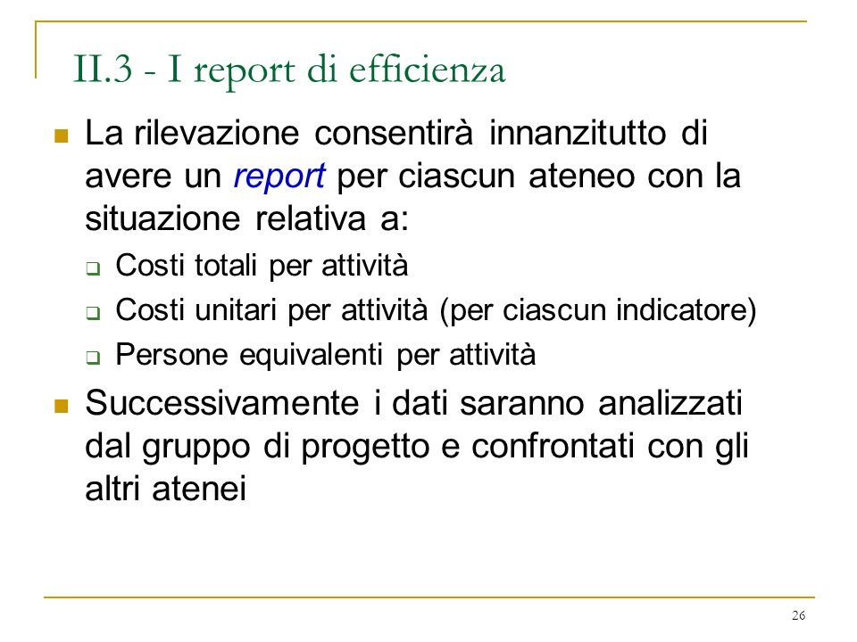 II.3 - I report di efficienza