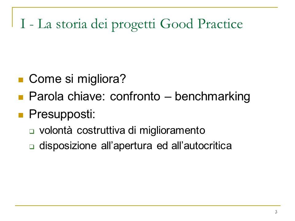 I - La storia dei progetti Good Practice