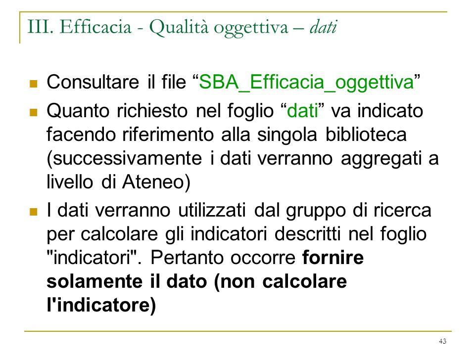 III. Efficacia - Qualità oggettiva – dati