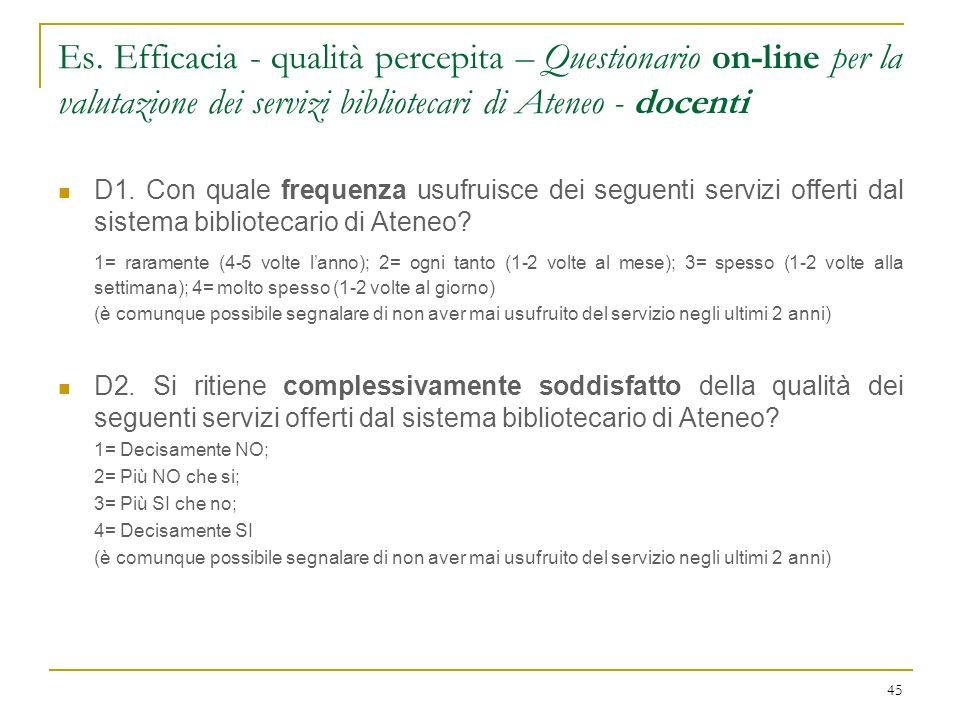 Es. Efficacia - qualità percepita – Questionario on-line per la valutazione dei servizi bibliotecari di Ateneo - docenti