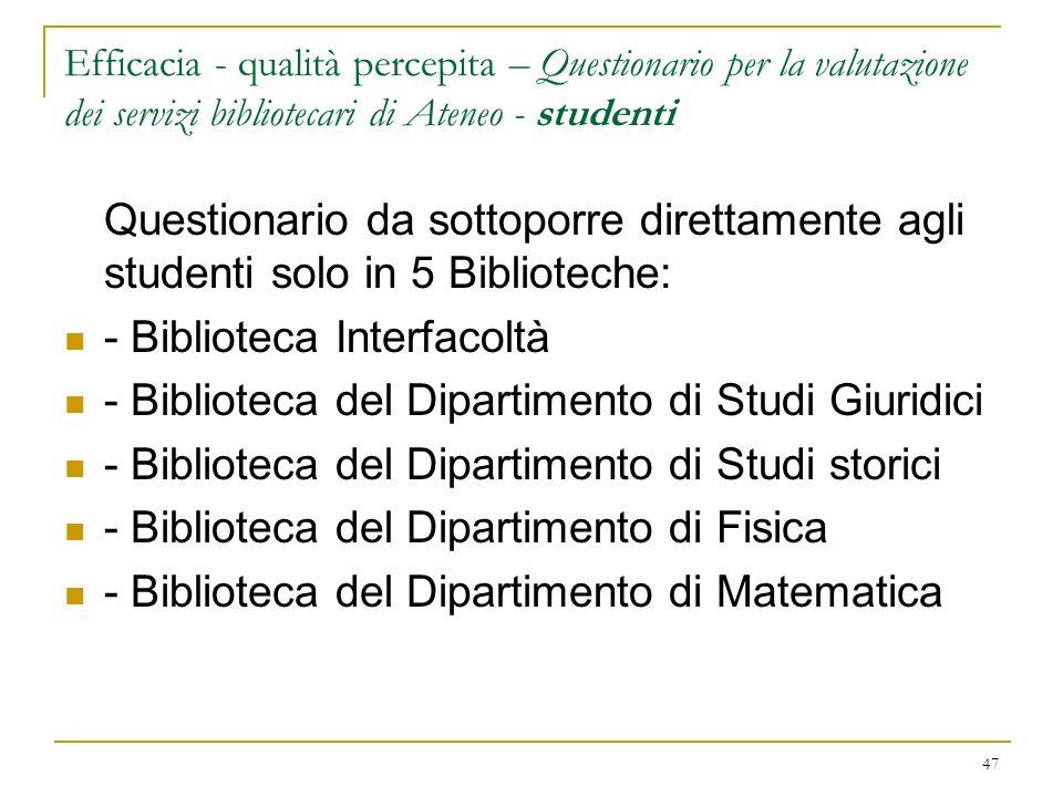 - Biblioteca Interfacoltà