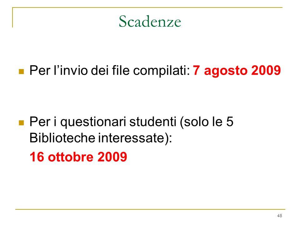 Scadenze Per l'invio dei file compilati: 7 agosto 2009