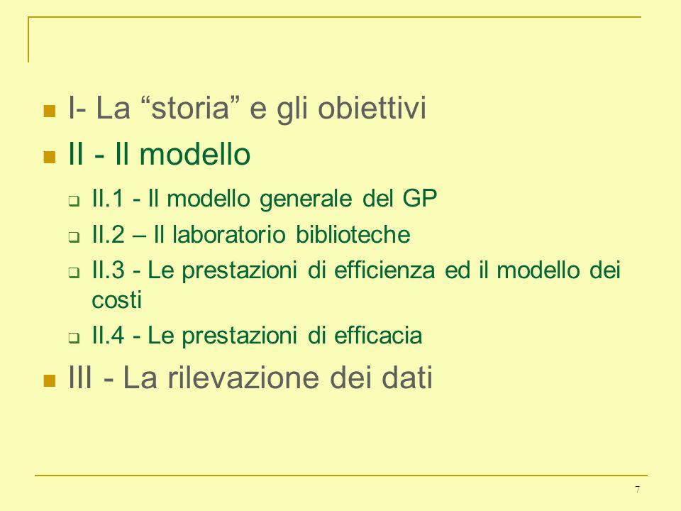 I- La storia e gli obiettivi II - Il modello