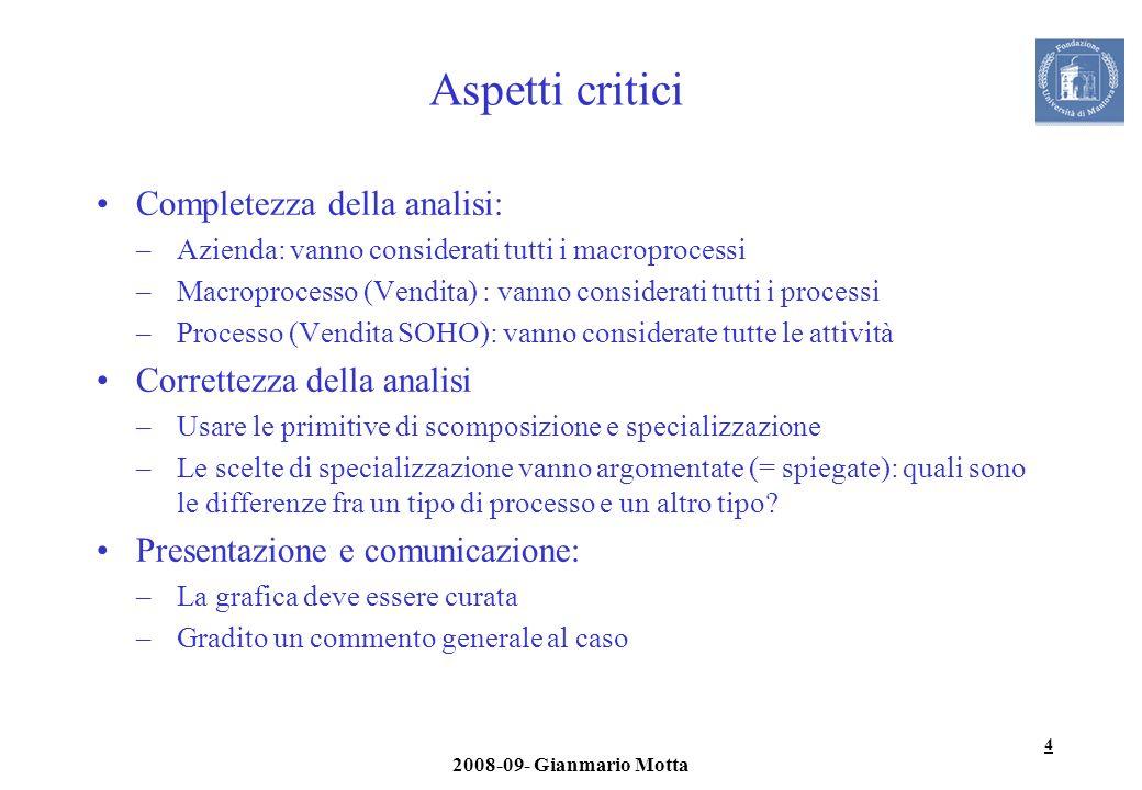 Aspetti critici Completezza della analisi: Correttezza della analisi