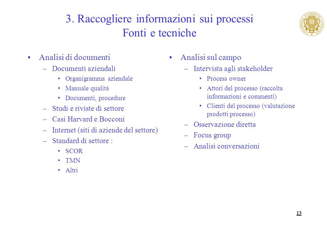 3. Raccogliere informazioni sui processi Fonti e tecniche