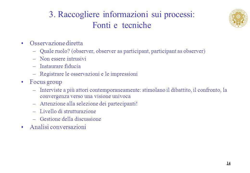 3. Raccogliere informazioni sui processi: Fonti e tecniche