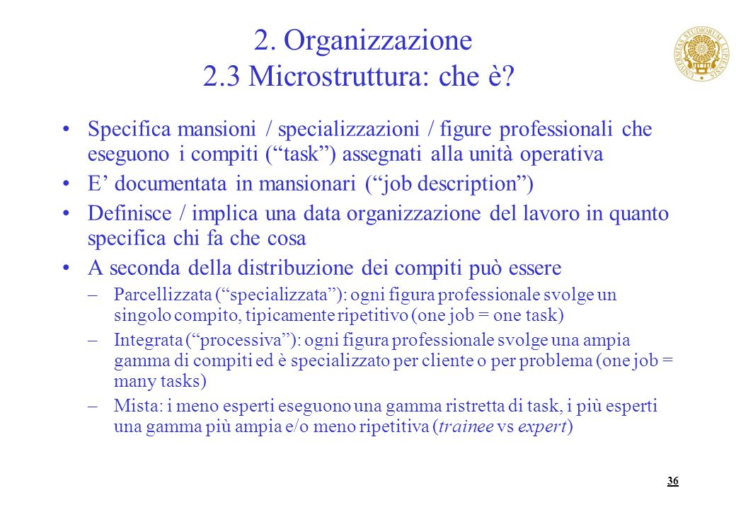 2. Organizzazione 2.3 Microstruttura: che è