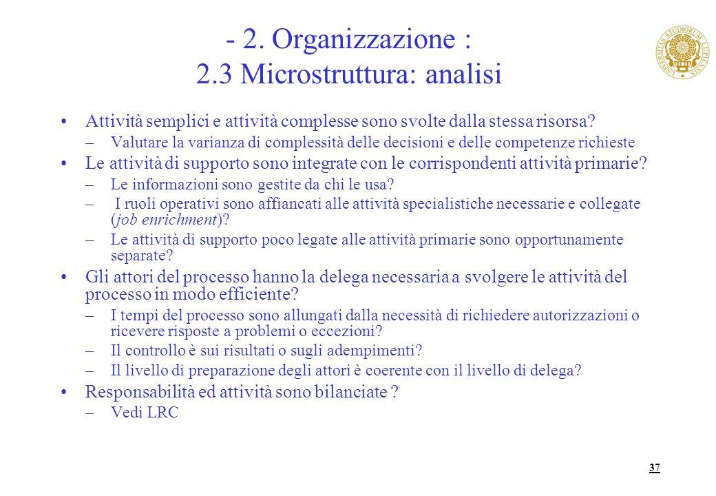 - 2. Organizzazione : 2.3 Microstruttura: analisi
