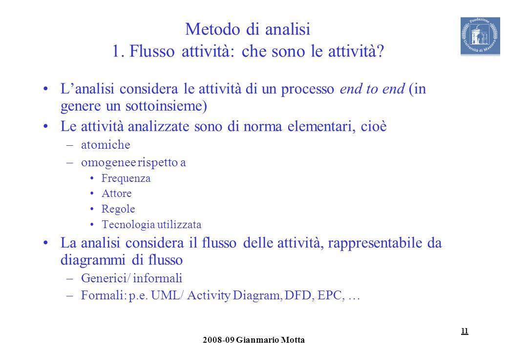 Metodo di analisi 1. Flusso attività: che sono le attività