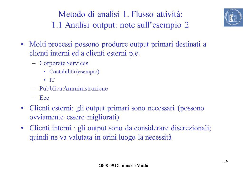 Metodo di analisi 1. Flusso attività: 1